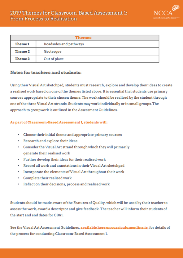 2019 Themes for Classroom-Based Assessment 1: From Process to Realisation