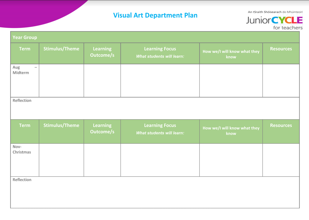 Visual Art Term Plan