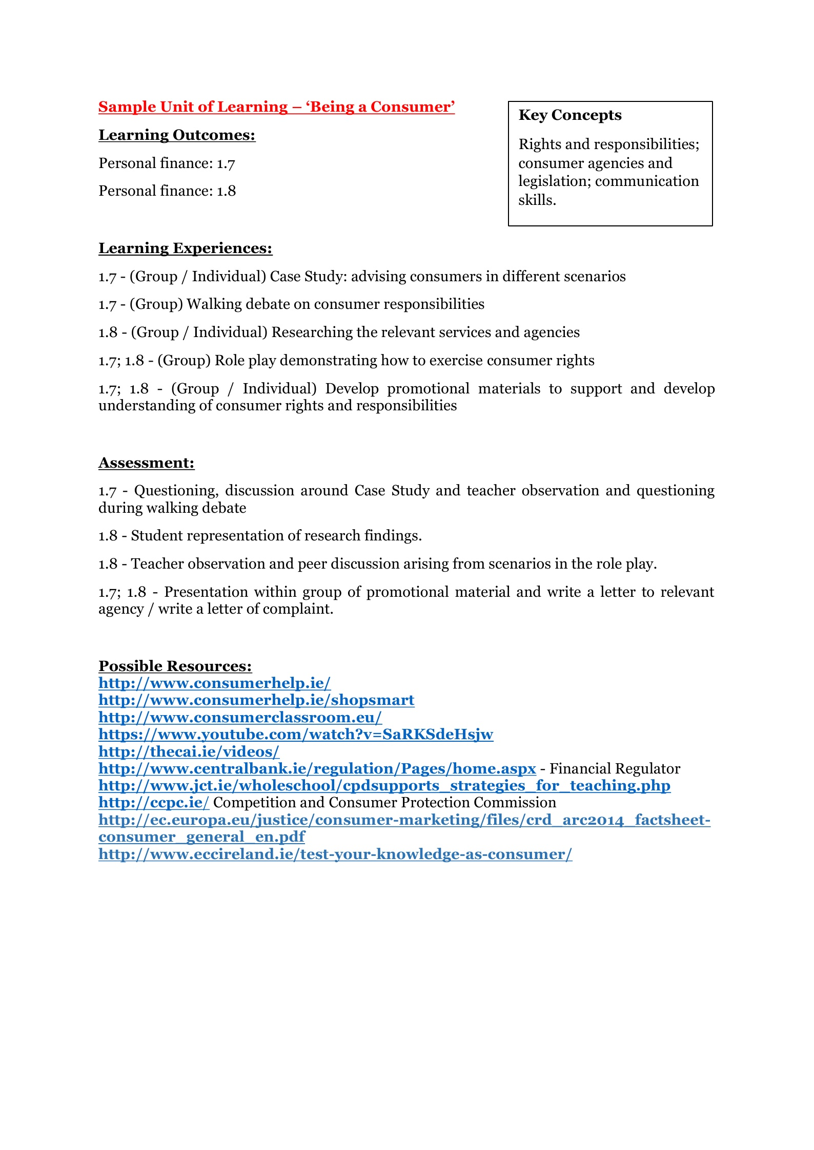 Business Studies | Planning - First Year | Junior Cycle for