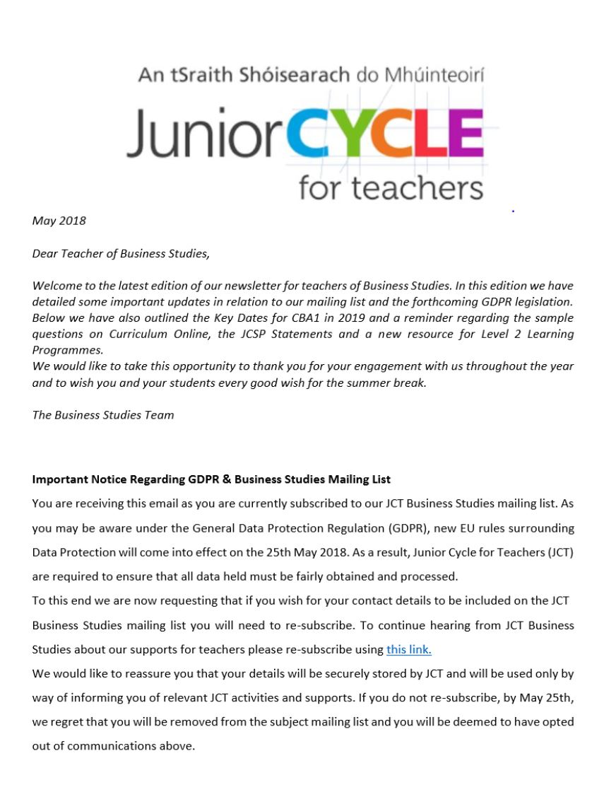 Business Studies Newsletter May 2018
