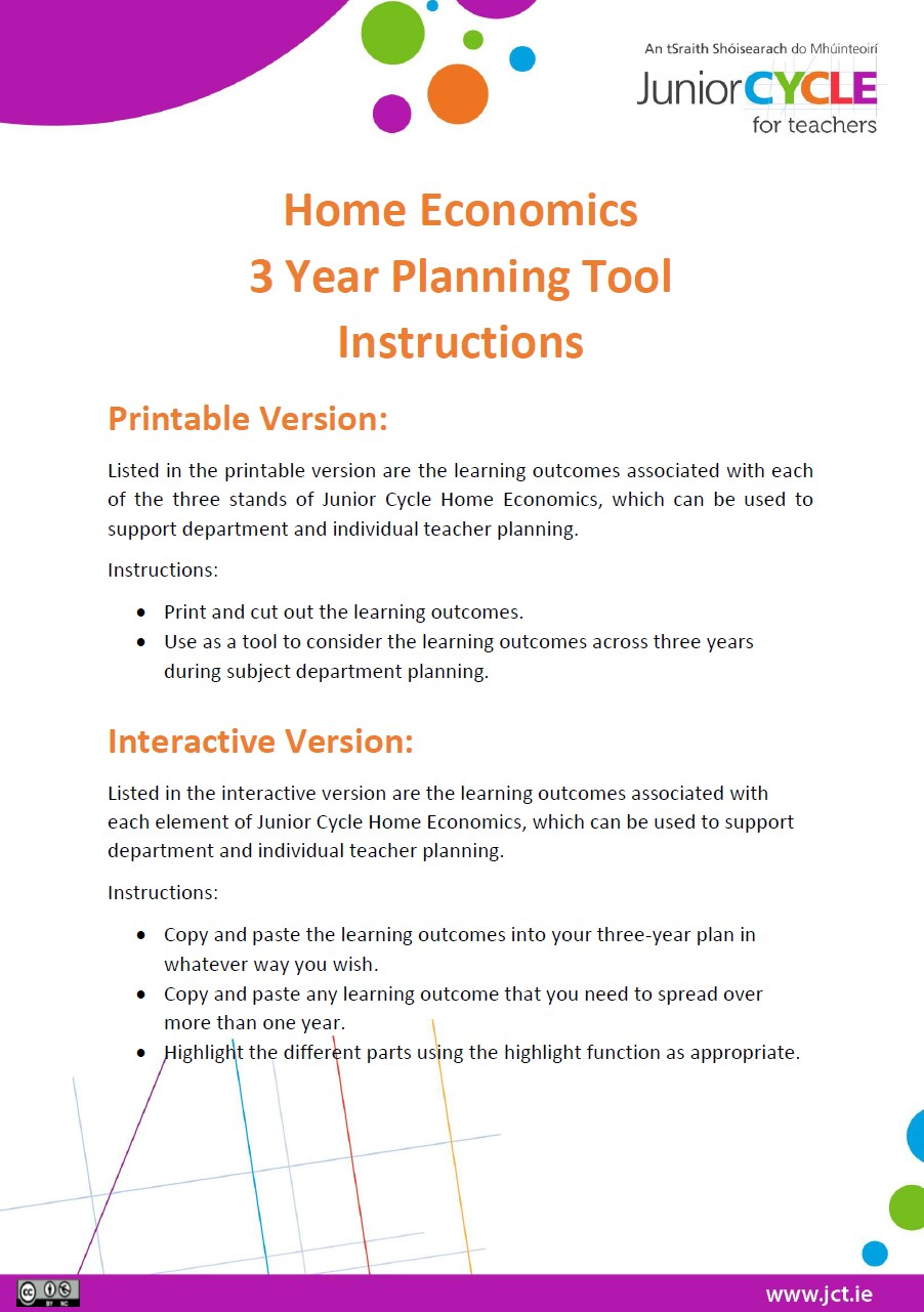 Home Economics 3 Year Planning Tools Instructions