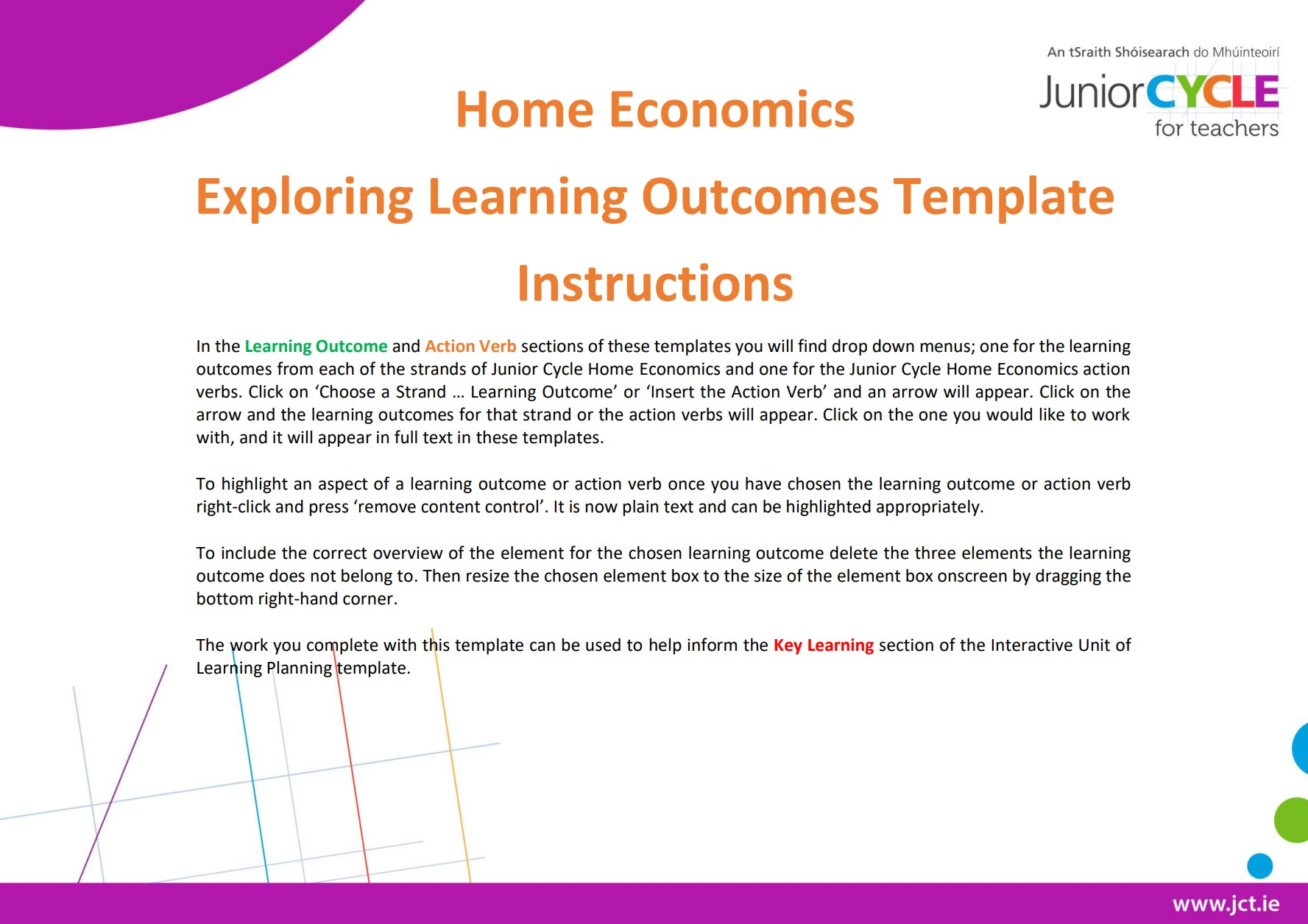 Home Economics Exploring Learning Outcomes Template Instructions