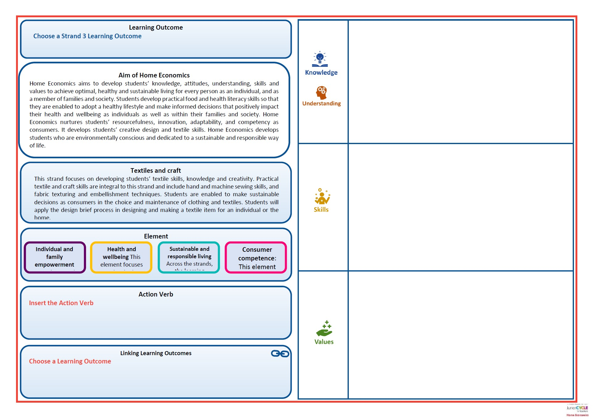 Home Economics Exploring Learning Outcomes Template Strand 3
