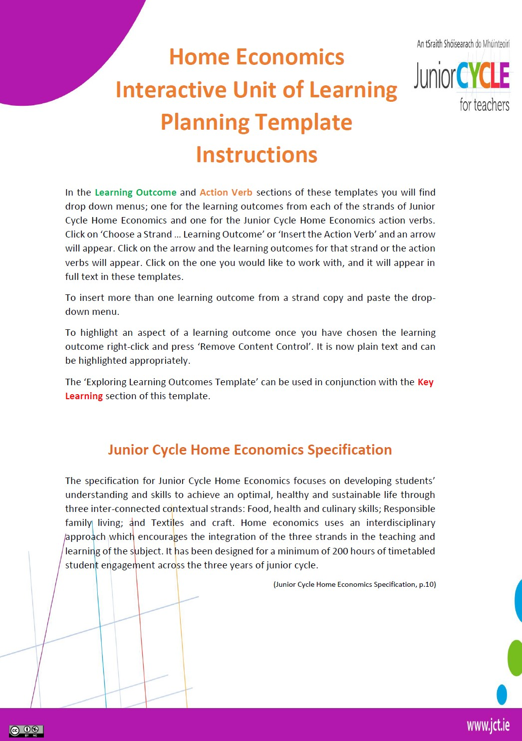 Home Economics Interactive Unit of Learning Planning Template Instructions