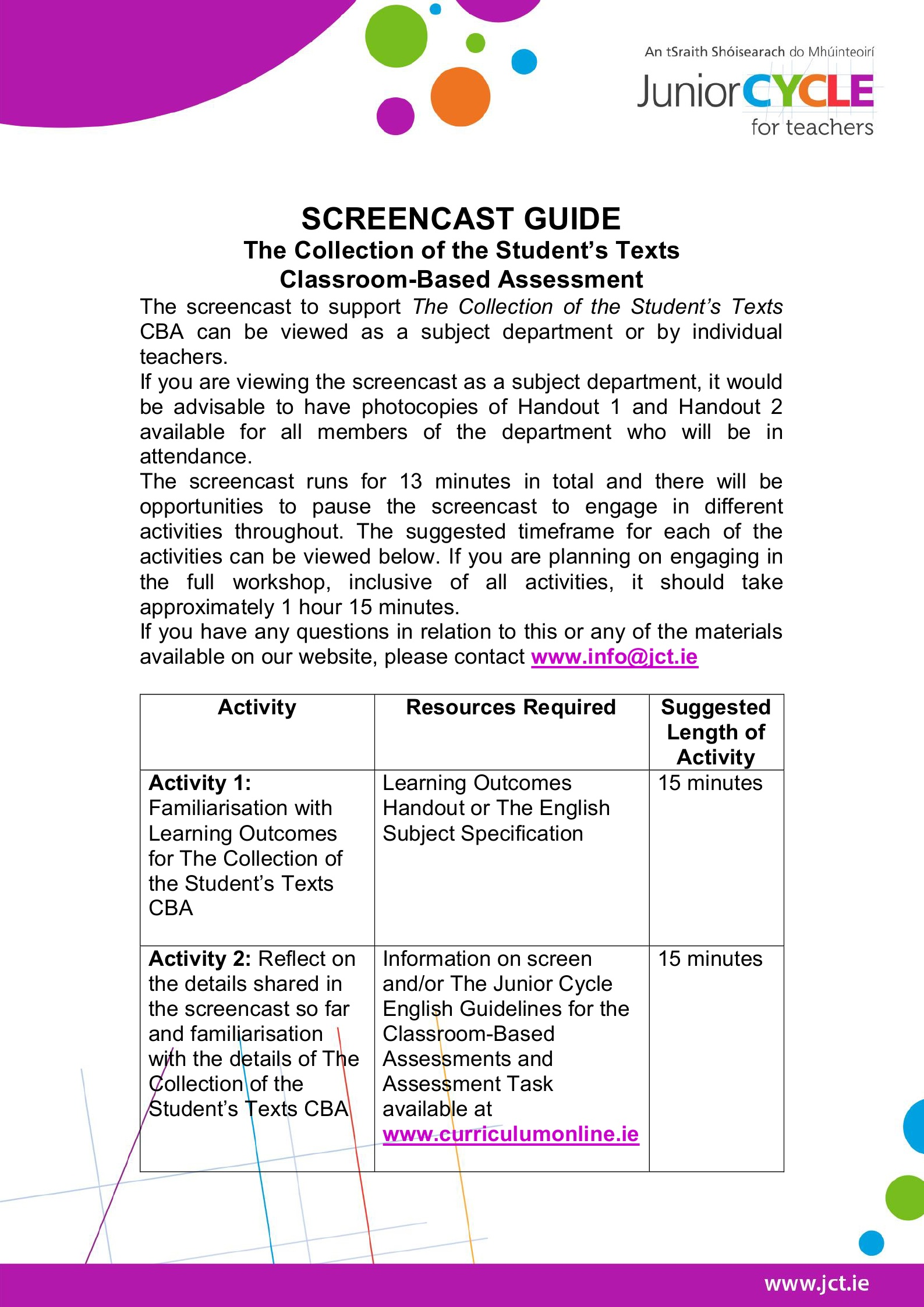 Screencast Facilitator's Guide