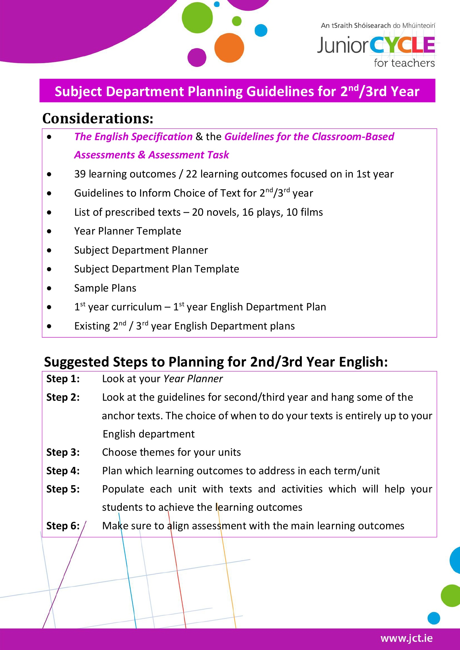english second third year planning junior cycle for teachers jct