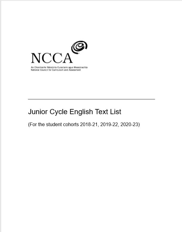 Junior Cycle English Text List (For the student cohorts 2018-21, 2019-22, 2020-23)