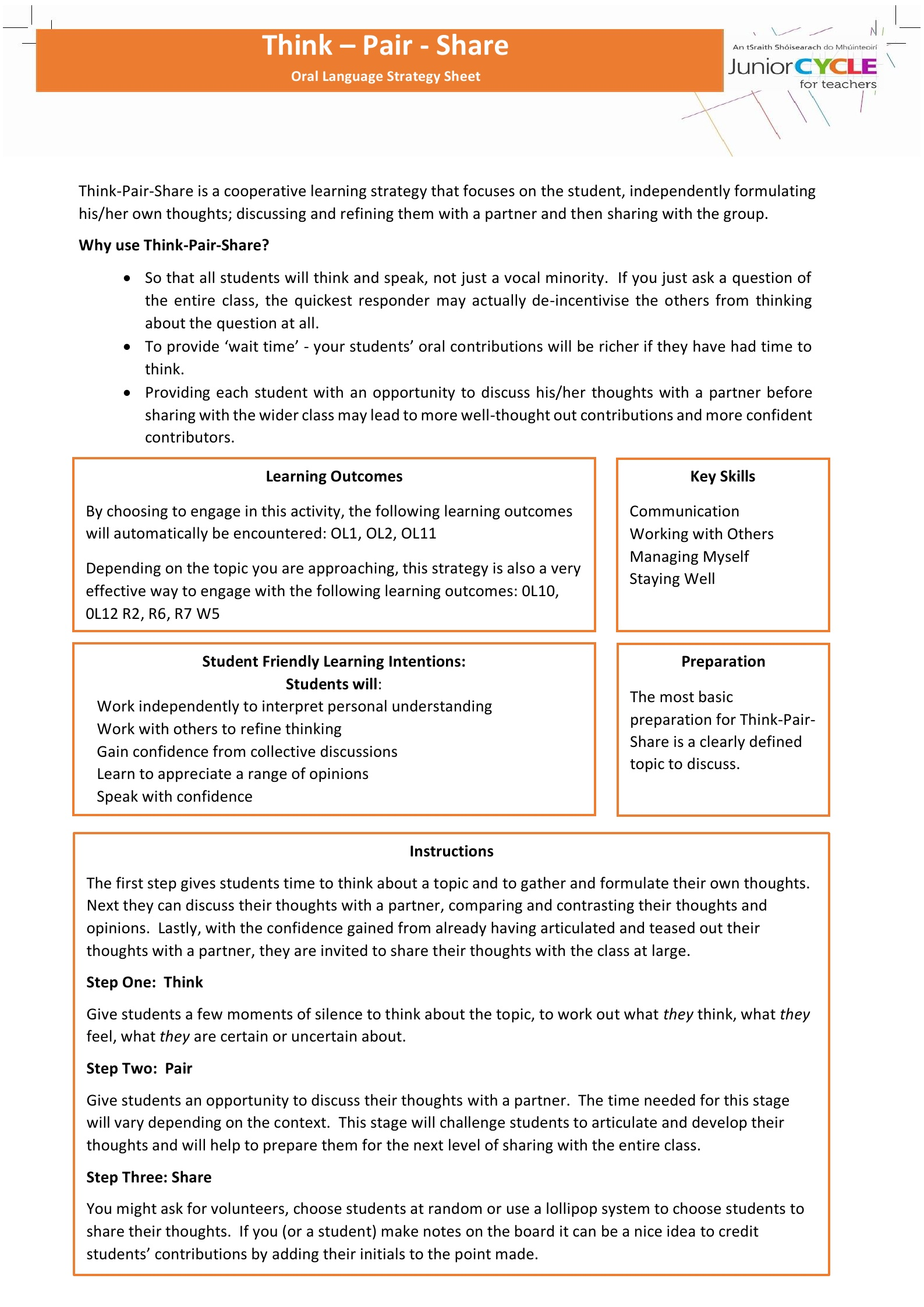 English Resources Oral Language Junior Cycle For Teachers Jct