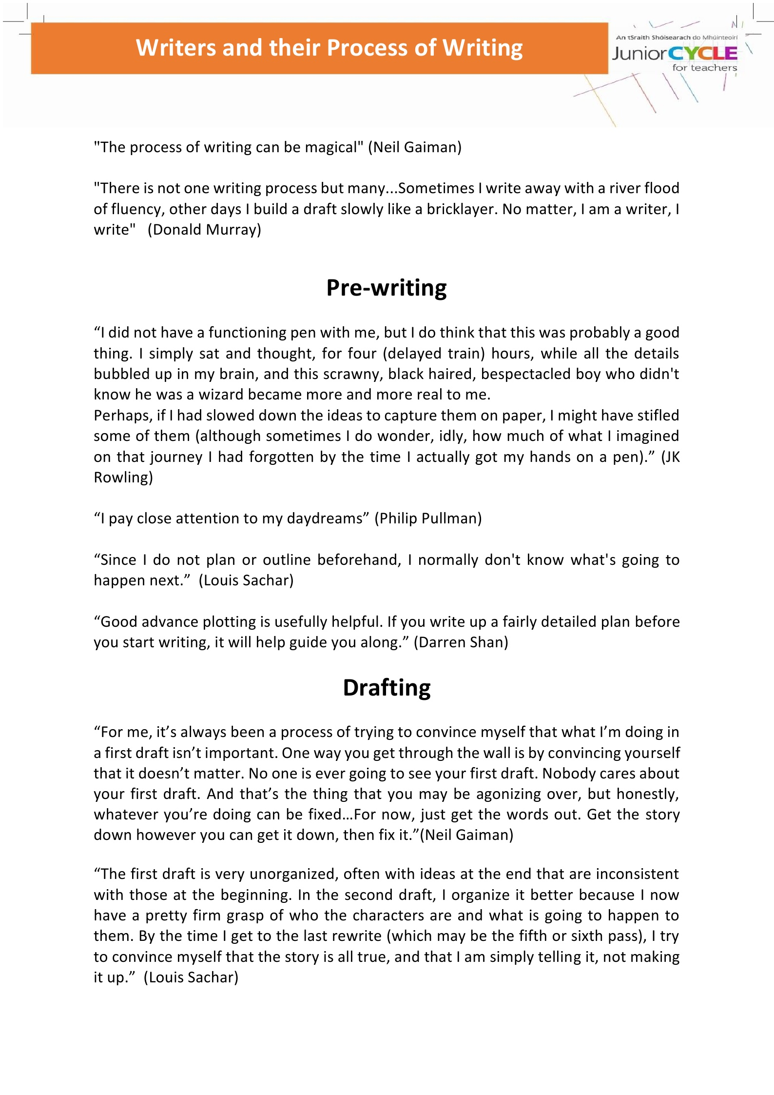 Writers and their Process of Writing