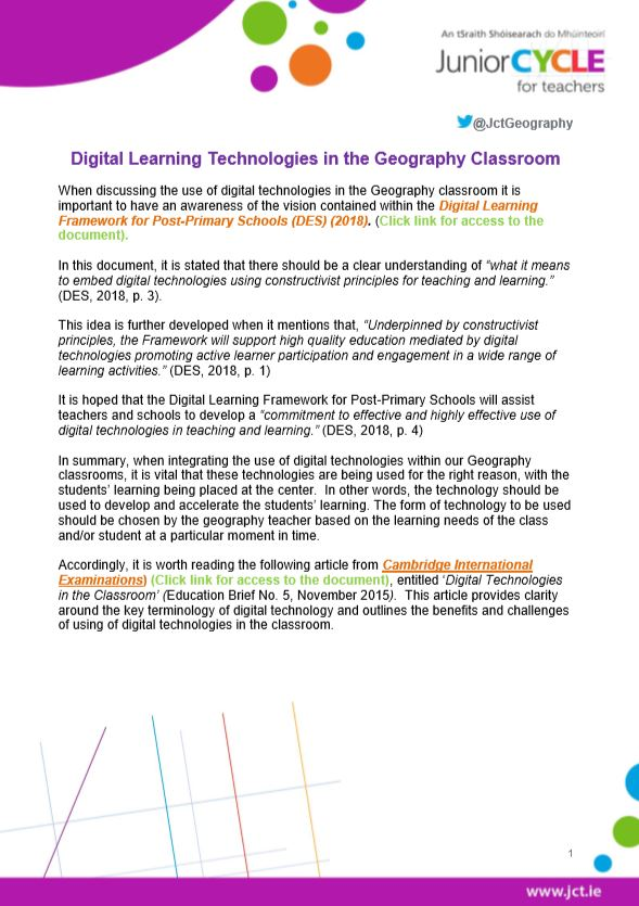Digital Learning Technologies in the Classroom