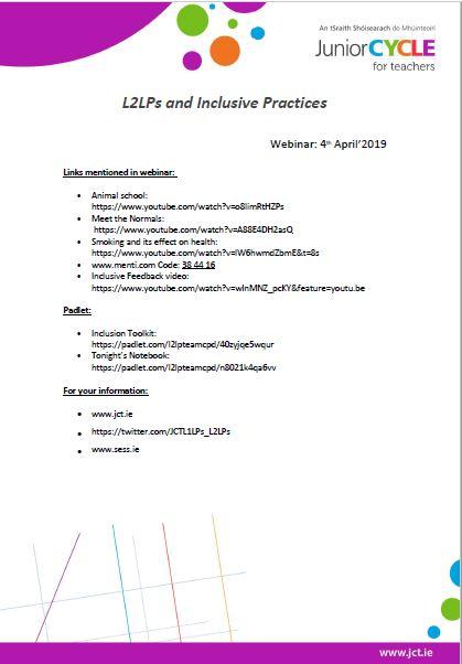 L2LPs | Mainstream School CPD Elective Workshops | Junior