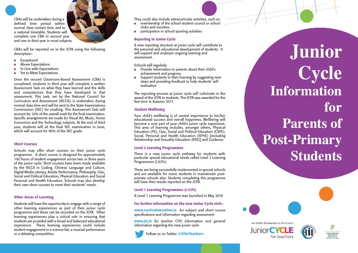 Post Primary Parents Leaflet