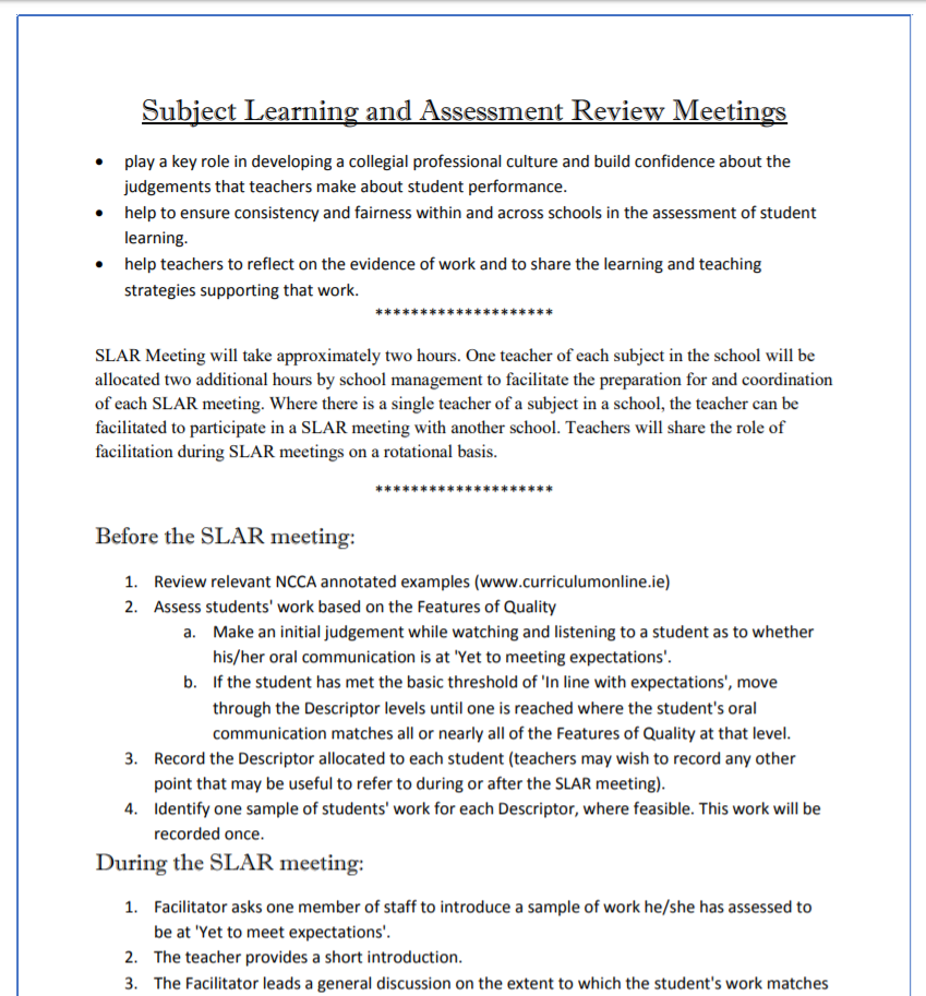 Subject Learning and Assessment Review Meetings