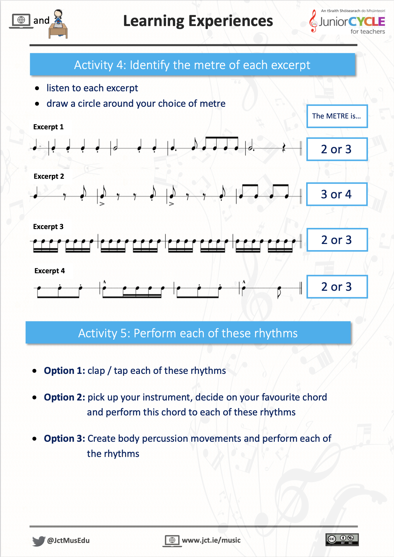 Online Learning Creating Music - Activity 4 & 5 PDF