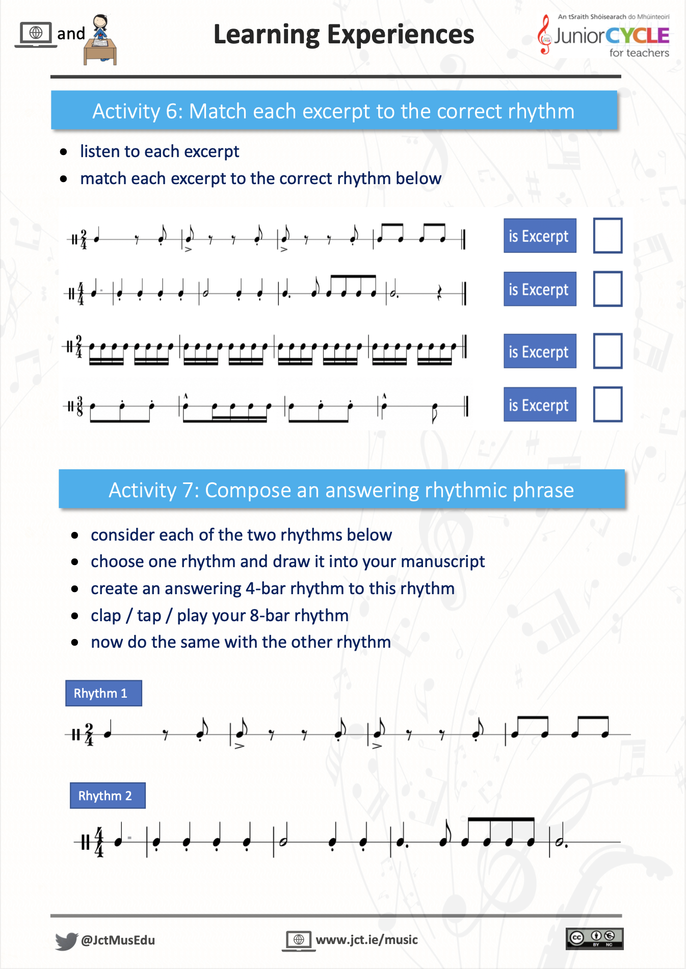 Online Learning Creating Music - Activity 6 & 7 PDF