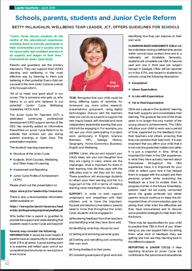 Leader Quarterly April 2018 - Betty McLaughlin