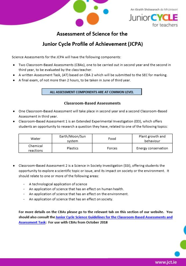 Assessment of Science for the JCPA